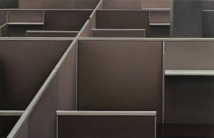 Cubicles (brown), 2013, 100-155 cm, oil on canvas.